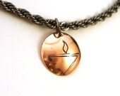 Abstract UU Chalice on Heavy Gunmetal Chain - Unitiarian Universalist Chalice Jewelry