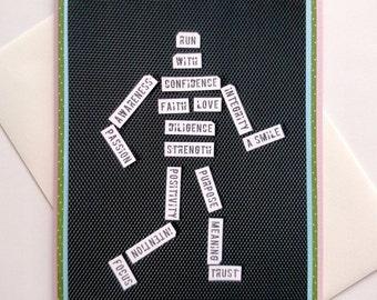Running Person Word Art Print Handmade Greeting Card - Spring, Summer Motivational, Good Luck, Encouragement Card for Runners