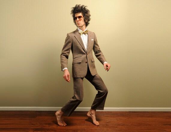 mens vintage tweed suit 60s vintage oatmeal brown fleck ticket