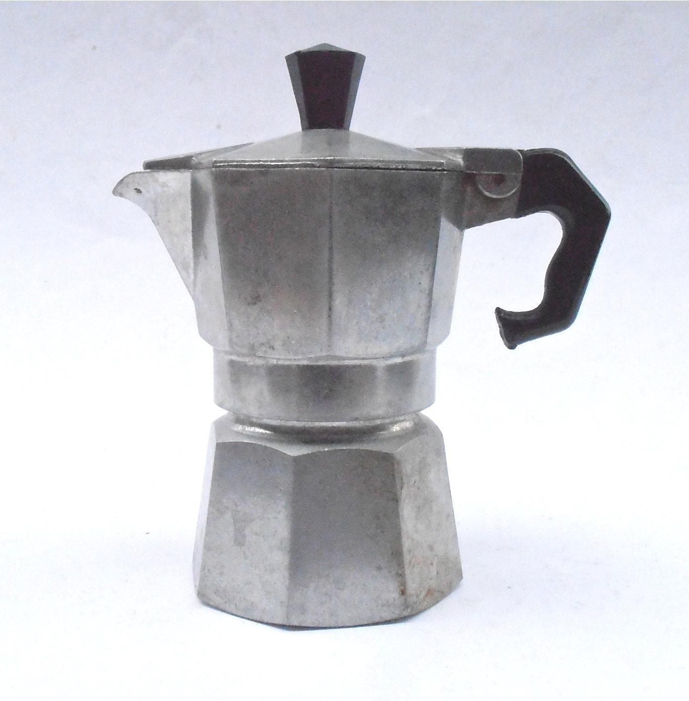 Italian Coffee Maker Aluminum : Vintage One Cup Espresso Coffee Maker Marimba Italian Aluminum