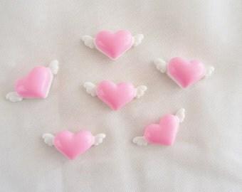 6pcs - Angelic Hearts Decoden Cabochon (25x12mm) HRT10019
