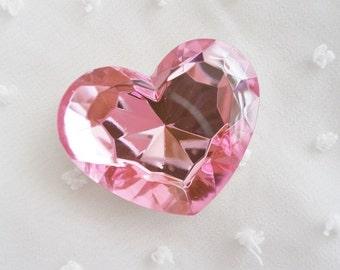 1pc - Big Light Pink Faceted Acrylic Heart Rhinestone (43mm) AH30043
