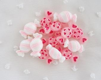 6pcs - Cute Candy Mix Flatback Decoden Cabochon (22x10mm) CY10027