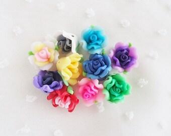10pcs - Small Pretty Clay Rose Mix Decoden Cabochon (15mm) FL10013