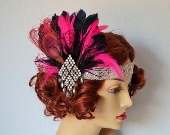 Gatsby Peacock Fuschia Feather headband,1920s beaded rhinestone headband, Gatsby Art deco, Black and Hot Pink headband