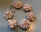 cluster beaded earring bauble bracelet white wedding bride