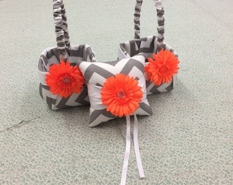 2 Gray Chevron  Zig Zag with Orange  Flower Girl Baskets and matching pillow.