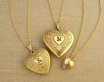 Personalized heart locket necklace gold brass heart Initial locket Bridesmaid gift photo locket Grandma Mother Generation set COUPON