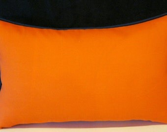Orange Navy blue trim Sundeck outdoor pillow cover 12 X 20