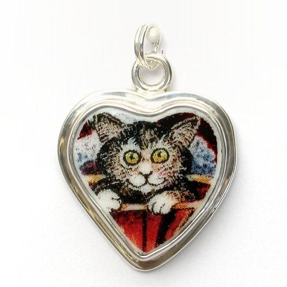 Broken China Jewelry Brown Grey Gray Kitty Cat Sterling Heart Charm 48-50