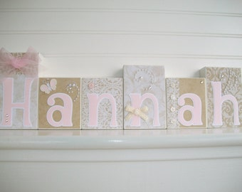 Elegant Wall Art for Nursery. Personalized Letter Blocks . Pink and Taupe Nursery