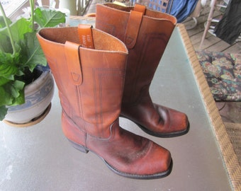 mens leather boots, western, cowboy, work boots, sz 12