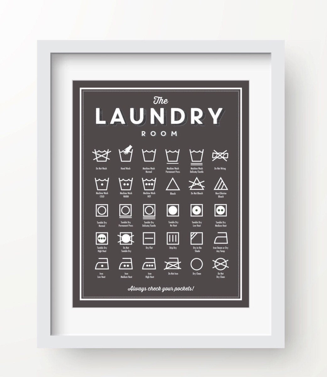 Laundry Room Decor SLATE Color Wall Guide Printable