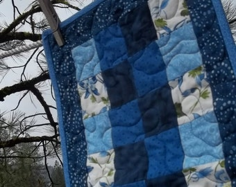 Quilted Many Shades of Blue and Columbines Four Patch Table Runner