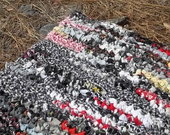 Red Black White Gray and a Hint of Yellow Crocheted Rectangle Rag Rug