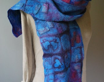Hand felted, hand dyed art scarf, shawl, OOAK handmade statement accessory, bohemian women's wearable art fashion, hand made, merino wool