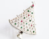 Vintage Christmas Tree Pin Brooch Silver Tone Jewelry Jewellry Gift for Her