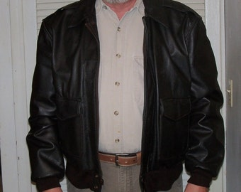 Vintage Aviator Jacket Brown Leather Size L 1980s Replica Fathers Day Gift Idea