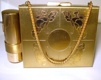 Vintage 1940s Purse  . Carry All  .Compact  .  Compartments -  NOS