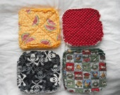 Pair of Rag Quilted Fabric Pot Holders 4 prints to choose from (Group C) Watermelon, Red Calico, Skull & Cross bones, Country Farm