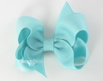 Aqua Hair Bow - girls hair bows - toddler hair bows - baby hair bows - boutique girl bows - 3 inch bows - girls hair clips