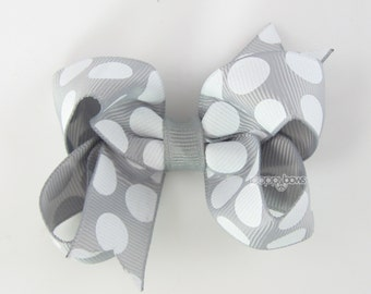 Gray and White Polka Dot Hair Bow - 3 Inch - Hair Clips for Girls Alligator Clip Babies Toddler - Chunky Dots
