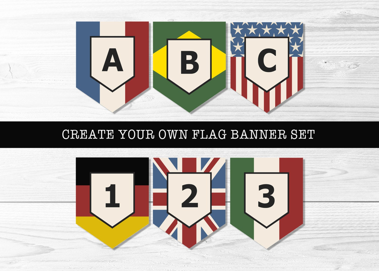 Custom Country Flag Banner Set Create Your Own by