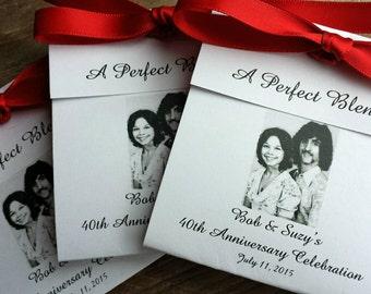 25th Anniversary Favors Tea Favors Personalized Teacup Tea Bag Party Favors - Wedding Anniversary Tea Favors Photo Favors