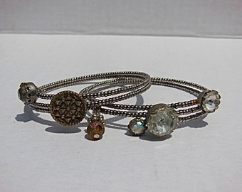 Beaded button wrap bracelets, vintage antique buttons bangle, silver gold rhinestones, boho glam, one size fits all