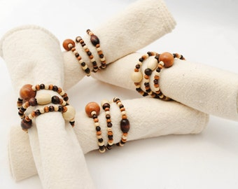 Set of 4 Wooden Beaded Napkin Rings in Earthy Wood Tones of Nougat and Coffee, Neutral Home Decor