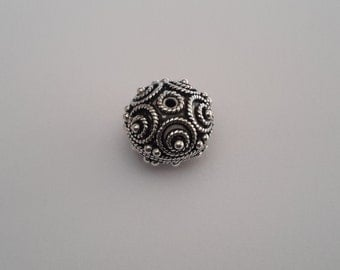 1 Solid Sterling Silver 925 one of its kind Dotted Bali Focal Spacer Bead (13 mm)