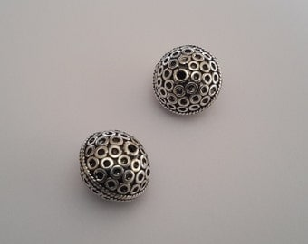 1 Solid Sterling Silver 925 ringed patterned Bali Focal Spacer Bead (13 mm)