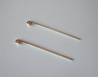 4 Solid sterling silver pin stems brooch and pin component beads
