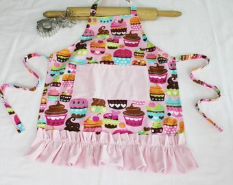 Ruffled Pink Sweet Cupcakes Child Apron - with light pink pocket and ruffle - ready to ship