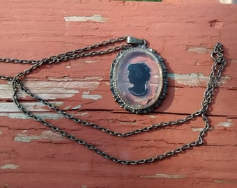 Vintage Black Cameo Necklace