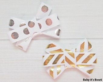 Silver and Gold Metallic Foil Itty Bitty Bow Set - Itty Bitty Bow, Bitty Bow, Foil, Metallic, Baby Girl, Toddler Girl, Silver, Gold