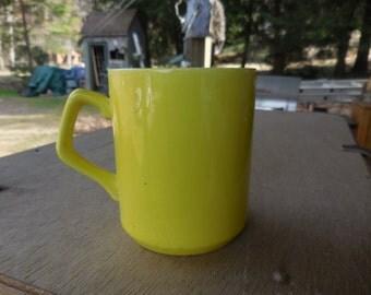 Vintage Bright Yellow Longton England Coffee/Tea Mug Ceramic 1960s to 1970s Retro