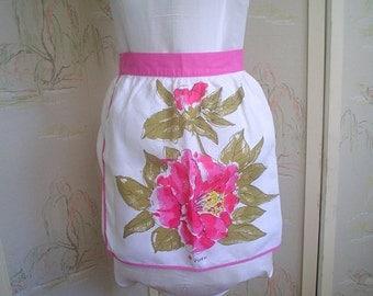Vintage Vera Half Apron with Huge Pink Camellia Linen Towel Apron