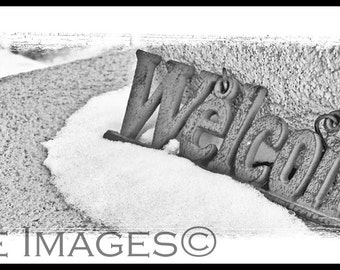 Welcome Sign, Modern Rustic or Cottage Farmhouse Decor 4x11 Photo with White Border