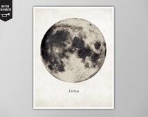 Giant Moon Poster, Luna Moon Art Print, Galaxy Nebula Star Super Moon Print, Wall Art, Home Decor, Moon Poster, Moon Print, Moon Art Print