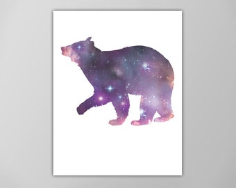 Bear Spirit Animal Art Print, Galaxy Bear Poster,  Astrology Graphic Art, Spirit Guide Poster, Minimalist Art , Bear Animal Totem Art Print