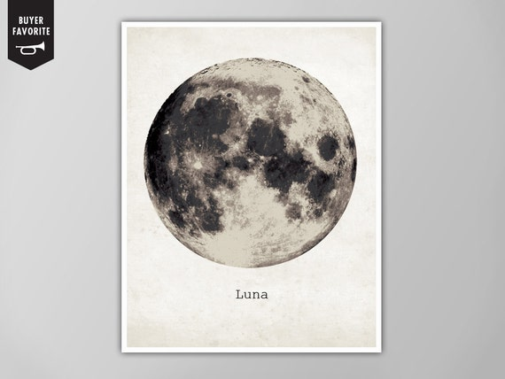 Giant Moon Poster, Luna Moon Art Print, Galaxy Nebula Star Super Moon Print, Wall Art, Home Decor, Moon Poster, Moon Print, Moon Art Print