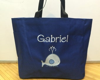 Personalized Baby Kids Monogram Ocean Whale Tote Toy Diaper Bag