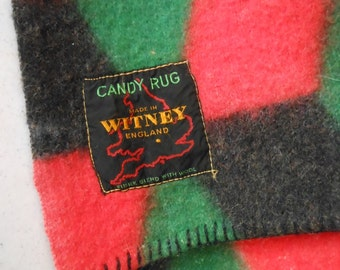 "Collectible CUBIST Blanket ""CANDY RUG"" Optic Witney England Wool"