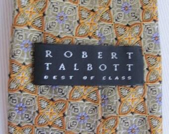 Robert Talbott Best of Class - Mens Gold Gray Silk Neck Tie Designer