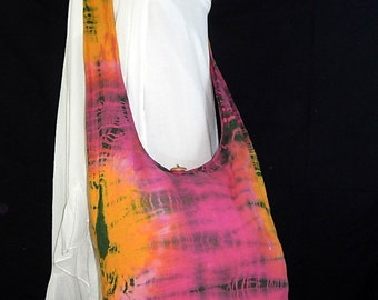 Tie Dye Bag Purse Sling Messenger Crossbody Buddha Hobo Hippie Celebrity OAK Long Strap Top Zip UC10