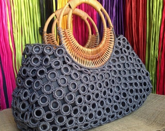 Beautiful Boho Grey Crochet Bag With Nylon Lining , Top zipper, Inside Pocket And Rattan Loop Handles