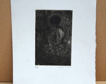 Vintage Original Black and White Etching by artist Magda Baker
