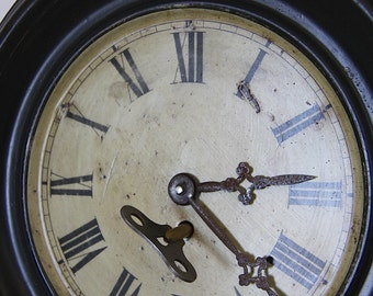 French Antique Tole Wall Clock Romantic Tea Stained Face Shabby Chic