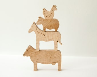 Farm Friends All-Natural Wooden Stackable Animals